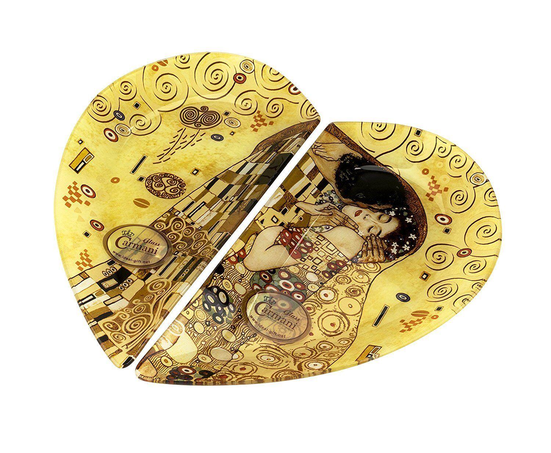 "Carmani 12x13-Inch 2-Piece Decorative Glass Platter with ""The Kiss"" Artwork"