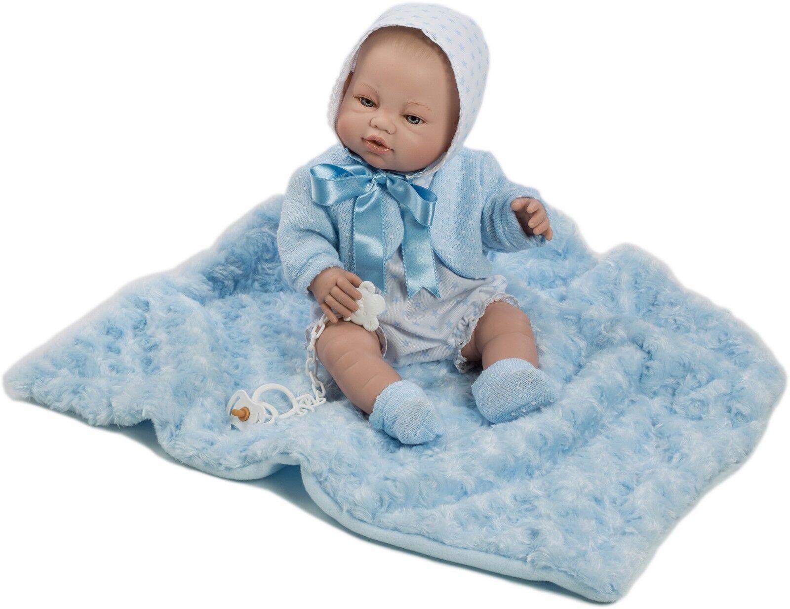 Berbesa -Muñeco nacido bebe recién nacido -Muñeco vestido mantita azul 42 cm vinilo Caja (5114) 2a6a4c