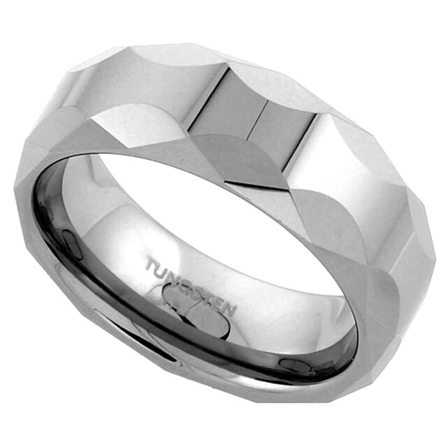 8MM Tungsten Wedding Band Ring w// Faceted Dome Octagon Comfort Fit Sizes 5-14