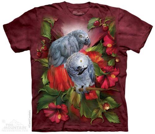 Hibiskus Graupapagei T-Shirt Rot Batik T-Shirt Vögel Vögel Hibiskus