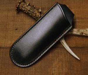 Navaja Plegable vaina de cuchillo vaina Bolso De La Cintura Cuero Vaca personalizar Negro Z1030