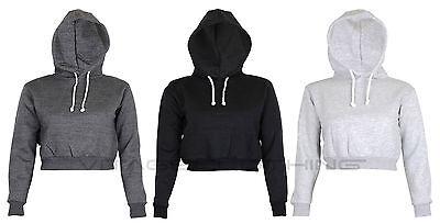 Womens Plain Crop Top Hoodie Hooded fullength Sleeves Sweatshirt Hangover S M L