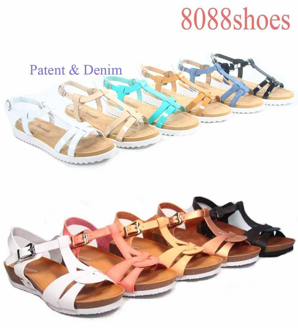 Women's Cute Low Summer White Sole T-Strap Low Cute Wedge Flat Sandal Shoes Size 5 - 11 7236e0