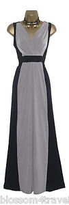 Long-Black-Mocha-Colour-Block-Grecian-Maxi-Evening-Dress-Casual-Party-Cruise