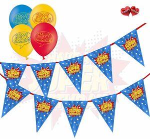 Image Is Loading Happy Birthday Bundle Superhero Bunting Banner And 25
