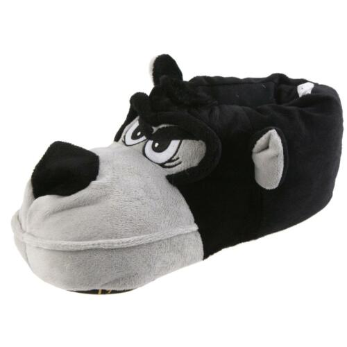 Perro Dexter animal zapatillas de casa pantufla zapatillas de peluche caballero negro 41-46