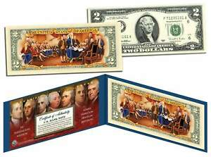 FOUNDING-FATHERS-Colorized-Back-Genuine-2-Bill-with-Founding-Father-039-s-CERT