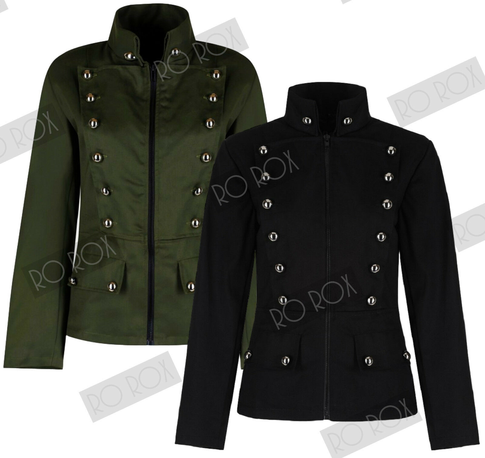 Womens Military Officer Army Parade Button Uniform Short Jacket Emo Punk  Gothic 157db287d6