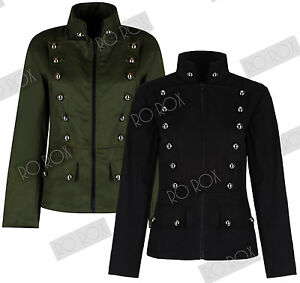Womens-Military-Officer-Army-Parade-Button-Uniform-Short-Jacket-Emo-Punk-Gothic
