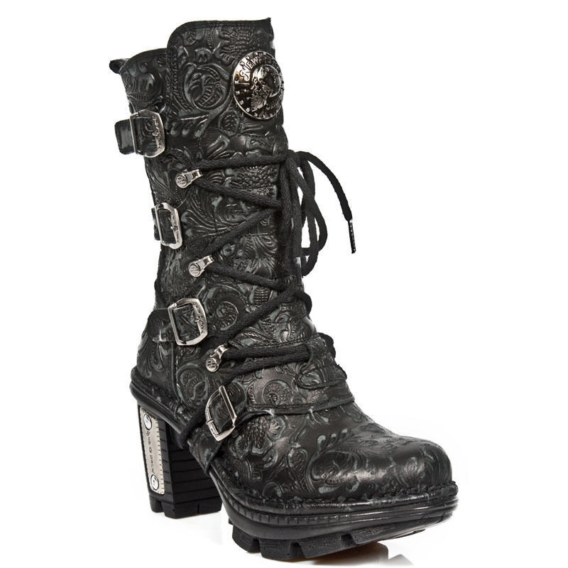 NEWROCK NEOTR005-S25 VINTAGE BLACK classic GOTHIC ROCK PUNK LADIES LEATHER LEATHER LEATHER BOOTS d19ab3