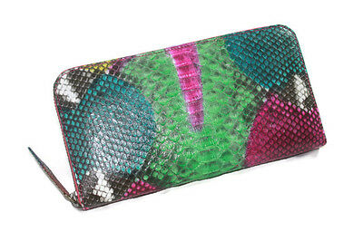 STUNNING MIX COLOR GENUINE SNAKE SKIN LEATHER WOMEN WALLET ZIPPED PURSE