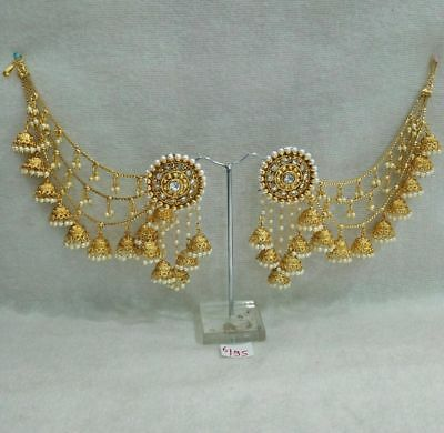 Indian Bridal Earrings Gold Plated Jewelry Antique Bahubali Pearl