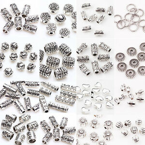 Lots-50-100Pc-Tibet-Silver-Loose-Spacer-Beads-Charms-Jewelry-Findings-DIY-U-Pick