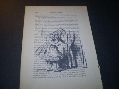 1893 ORIGINAL MEDICAL BOOK PAGE WITH VINTAGE ARTWORK OF ALICE IN WONDERLAND