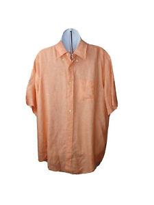 Brooks-Brothers-Mens-Shirt-Size-XL-Peach-Orange-Button-Down-Linen-Short-Sleeve