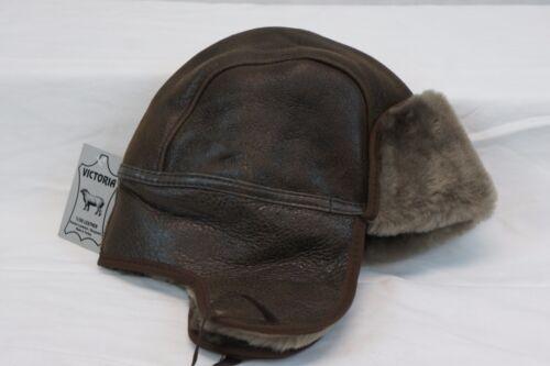 Real Sheepskin Shearling Leather Aviator Bomber Trapper Ushanka Hunting Hat M-3X