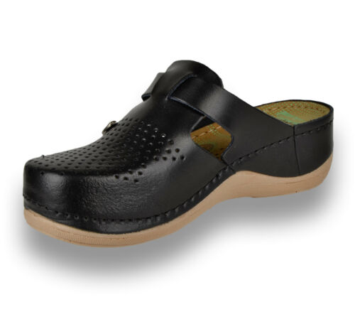 donna Uk 900 Ladies Mules Slip Sandals Black Slippers Clogs On Leather New Leon 4ZE7q6