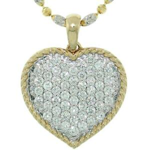 1-46-TCW-Round-Cut-Diamonds-Heart-Pendant-Necklace-In-Solid-14k-Two-Tone-Gold