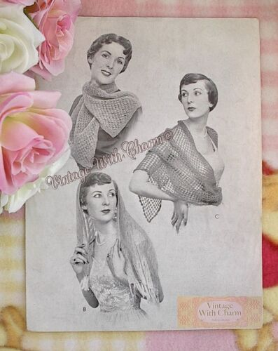Vintage 1930s Knitting Pattern For 2 Evening Scarves /& 1 Crocheted Stole
