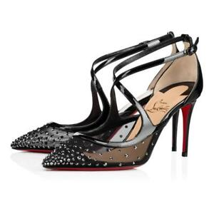 2ed475e9bed Image is loading Christian-Louboutin-TWISTISSIMA-Strass -Crystal-85-Lace-Heels-
