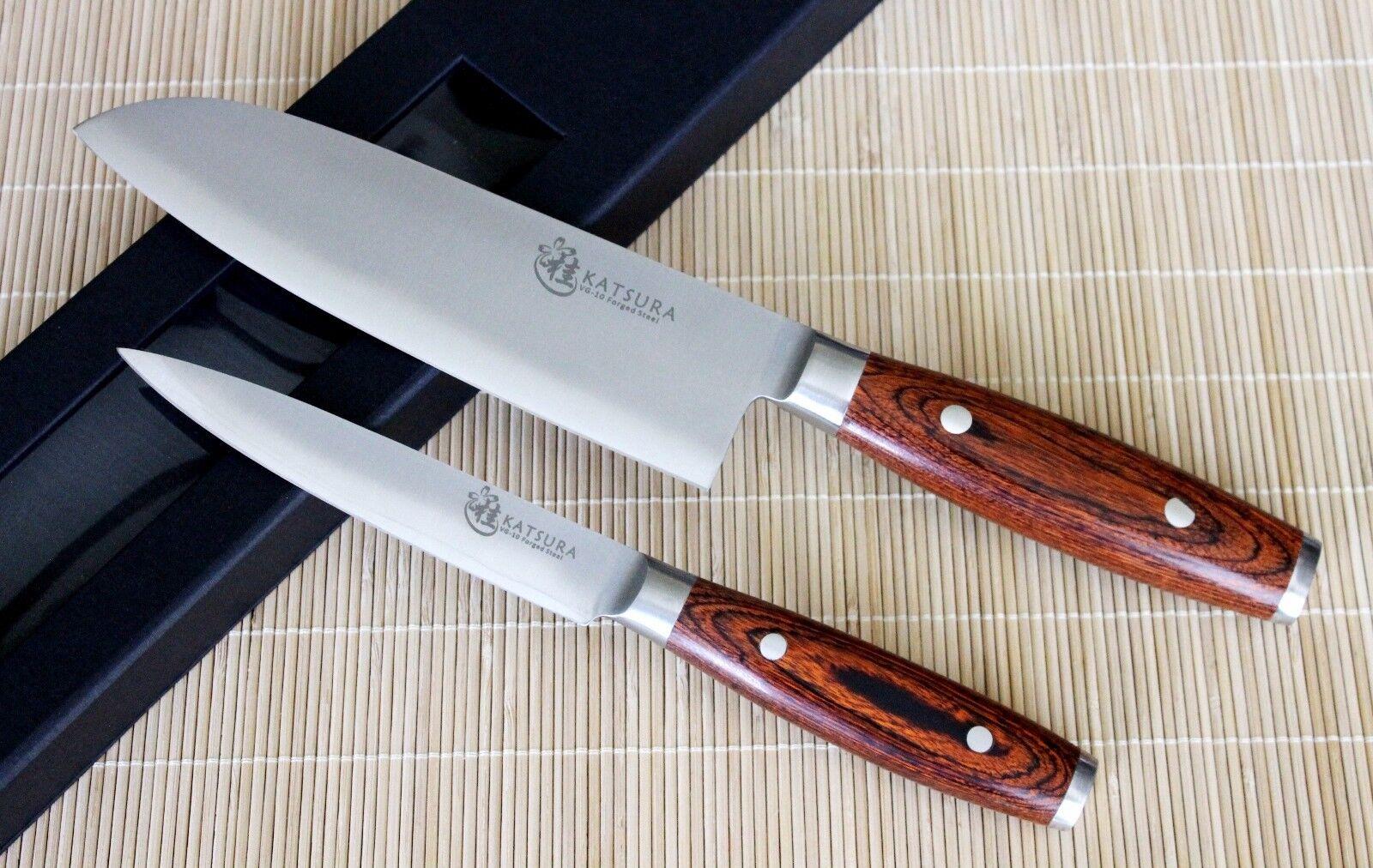 KATSURA Japanese VG-10 3 Layer Forged Steel 7in Santoku knife Set , 2pcs