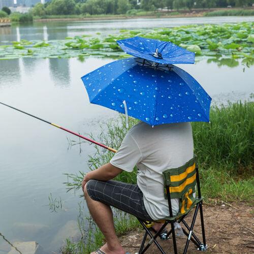 EE/_ Outdoor Fishing Travel Foldable Windproof Anti-UV Sun Rain Umbrella Hat Cap