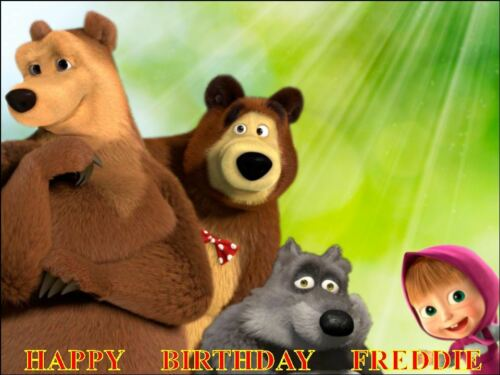 MASHA AND BEAR PERSONALIZED ICING CAKE TOPPER/'S VARIOUS SIZES