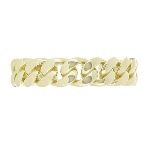 14K or Jaune Miami Cubain Curb Link Ring Band 5 Mm Taille 8.5 4.6 g
