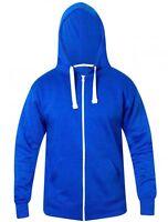 Mens Plain Zip Up Workwear Casual Hoodie Zipper Hooded Sweatshirt Top Size Large