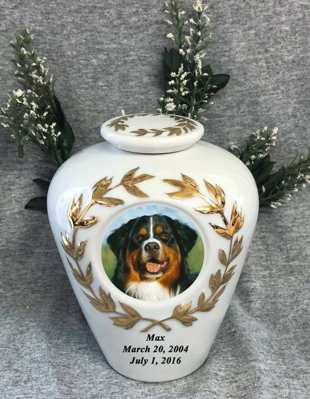 9.5  gold Trim Photo Picture Pet Dog Cat Cremation Memorial Urn personalized
