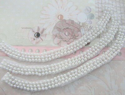 """3pc Pearl Bead 9.5/"""" Strand White Mesh Lace Trim//Sewing//Collar//notion//Dress T23"""