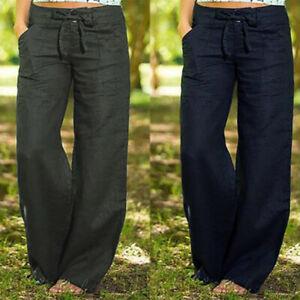 Mode-Femme-Pantalon-Coton-Confortable-Casual-en-vrac-Ample-Jambes-larges-Plus