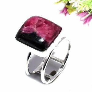 Rhodonite Gemstone Ethnic 925 Sterling Silver Jewelry Ring Size 10 1245