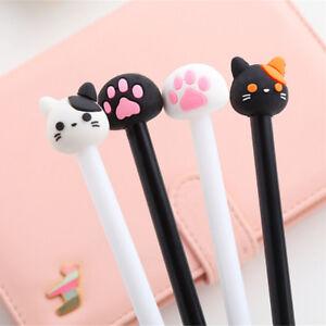 4x-Korean-Stationery-Cute-Cat-Rollerball-Pen-Gel-Black-Ink-Pens-School-Supply-EV