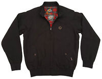 Mens Trojan Classic Red Check Lined Harrington Jacket Tr 8100 Ska Mod - Black