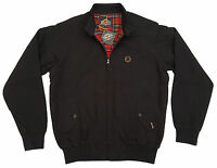 Mens Trojan Classic Red Check Lined Harrington Jacket Tr 8100 Ska Mod - Black