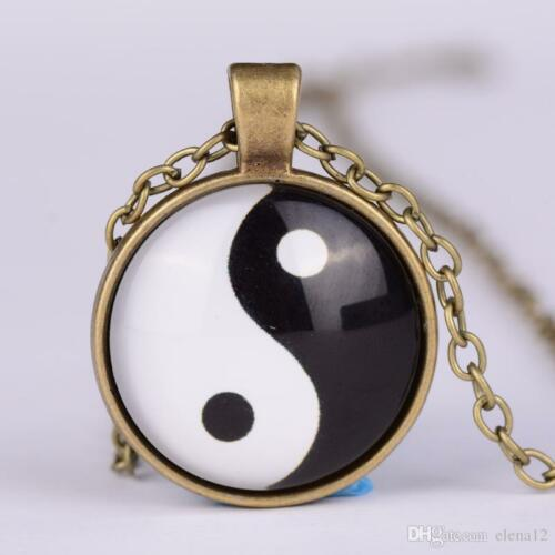 """1/"""" Dia New Gold Bronze Silver Yin and Yang Pendant Jewelry Chain Necklace"""