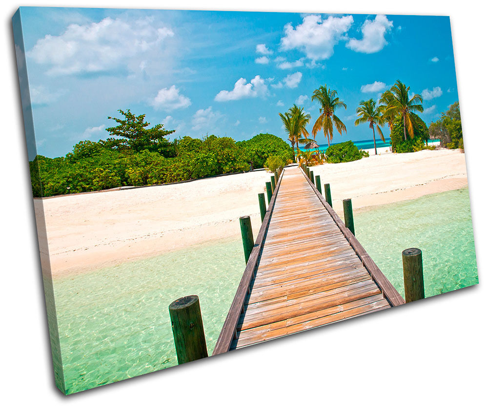 Tropical Jetty Sunset Seascape SINGLE TELA parete arte foto foto foto stampa 3e8650