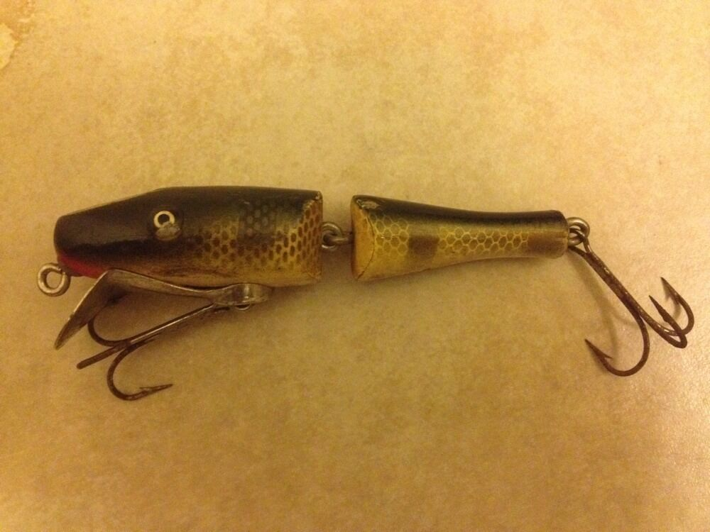 J C Higgins Wooden Jointed Bait Minnow Paw Paw Vintage
