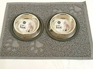 2x15cm-CAT-KITTEN-DOG-BOWL-STAINLESS-DOUBLE-NON-SLIP-MAT-FOOD-WATER-PET-FEEDING