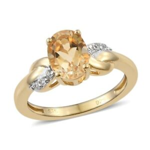 925-Sterling-Silver-14K-Yellow-Gold-Plated-Citrine-Zircon-Ring-Gift-Cttw-1-2