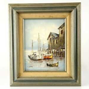 W Jones Oil On Board Sailboats Painting Signed Framed Ebay