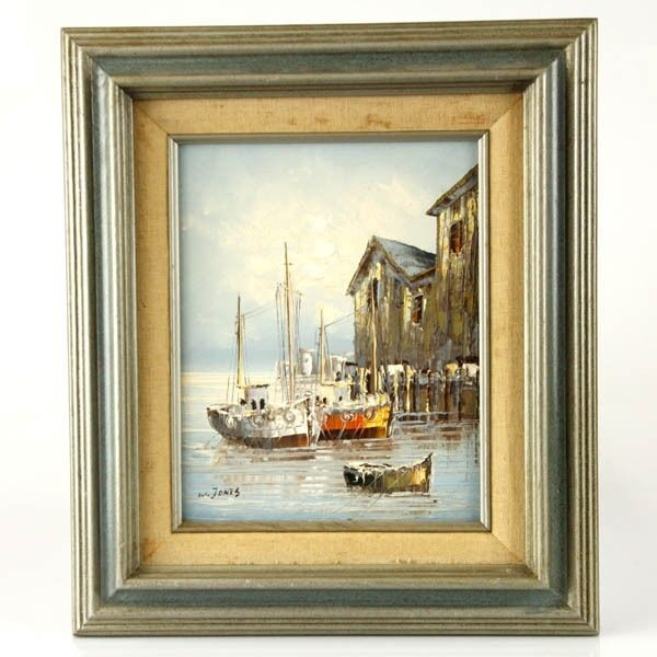 W Jones Oil on Board Sailboats Painting Signed Framed