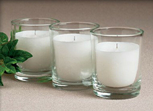 96 Wedding Party Table Reception Venue blanc Wax Votive Candle Glass Holder