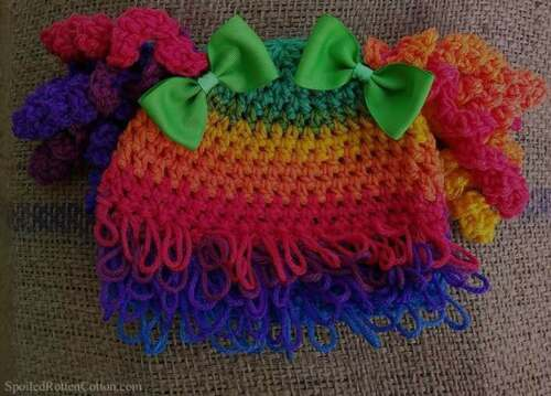 Cabbage Patch Kid Rainbow Clown Curly Hair Wig Hat Crochet Infant Toddler Adult