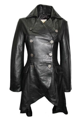 Fiona Ladies Edwardian Gothic Style Black Lambskin Leather Tail Coat Jacket