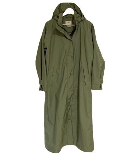 LL Bean Womens Raincoat Medium long hooded olive … - image 1