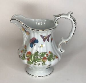 Ardalt-Lenwile-Ceramic-Pitcher-With-Butterflies-Strawberries-And-Ladybug-s