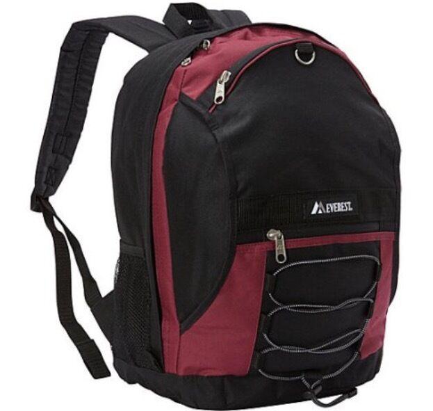Everest Luggage Backpack Model 3045sh Burgundy Black Travel Book Bag Ebay