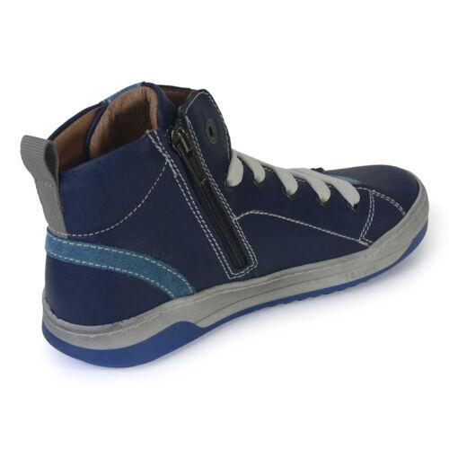 Primigi Boys Gus 61180 Blue Leather Zip /& Lace Hi-top Trainers